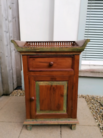 Teak oriental style free standing cabinet with drawer