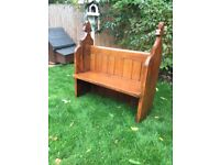 Antique pitch pine pew full of character