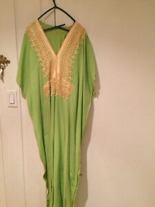 Abaya verte en coton (habit traditionnel)