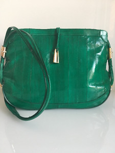 Vintage Emerald Leather of the Sea Shoulder Bag