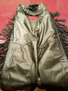 Womens Fringed Leather Chaps