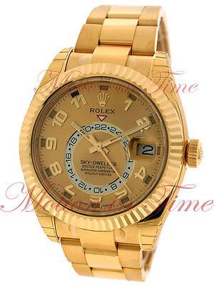 Rolex Sky Dweller Yellow Gold Annual Calendar Watch 42mm GMT Dual Time 326938