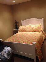 White wooden bed frame (double bed)