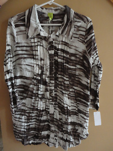 Adam Jacobs women's brown white printed tunic top Large NWT