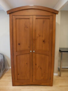 Large Solid Wood Wardrobe / Hutch with Drawers
