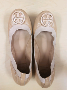 Size 6.5 Authentic Tory Burch Caroline Ballet Patent Nude