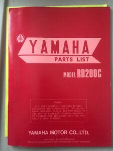 1975 Yamaha RD200C Parts List Regina Regina Area image 1