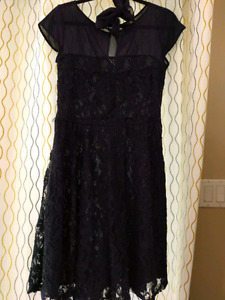 Navy blue lace dress with waist sash