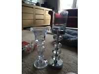 Two glass candle holders