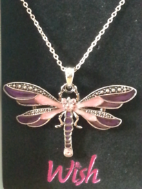Wish jewellery pink tonal dragonfly necklace