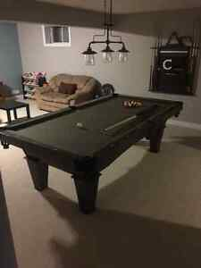 Pool Table and lighting fixture