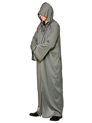 Mens Hooded Robe Medieval Monk Wizard Warrior Jedi Fancy Dress Grey Adult New - Scary Monk Costume
