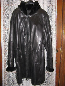 Danier Black Leather Coat with fur collar