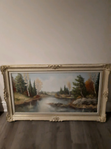 Gorgeous Antique Cream Picture Frame with Original Oil Painting