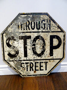 original BLACK STOP SIGN rare 1920 OBSOLETE steel THROUGH STREET