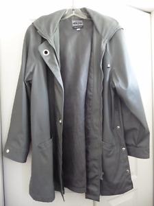 lined raincoat with detachable hood
