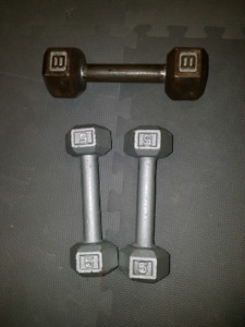 1 x 8lbs and 2 x 5lbs steel hex dumbells