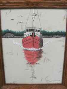 Watercolor Painting, for sale by artist. Trawler, Boat