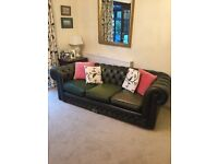 Antique green leather Chesterfield sofa