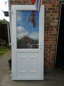 WHITE uPVC EXTERNAL DOOR WITH KEY IN FRAME