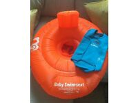 Baby swim seat and baby warma wetsuit. Up to 12 months