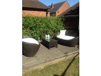 Rattan garden patio set 2 sofas and coffee table
