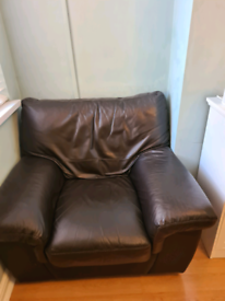Leather brown armchair