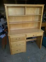 Solid Maple desk and Hutch