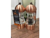 Brand new copper salt and pepper grinders