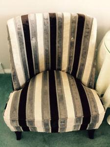 Two Velvet Slipper chairs