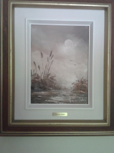 MONET AND PICASSO FRAMED PRINT AND OTHER SIGNED OIL/WATERCOLOURS