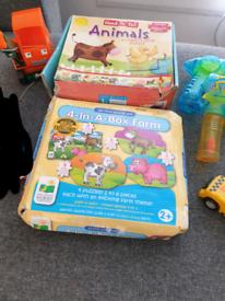 Bundle of kids toys puzzles, bubble guns, cars..