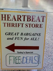 FREE & DEALS time at the HEARTBEAT Thrift Store/BayView Mall