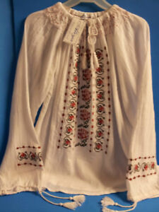Embroidered Handmade Romanian XL Ethnic Blouse Peasant Shirt Red