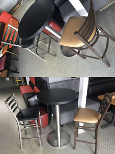 BARSTOOLS AND BAR HEIGHT TABLE STANDARD FOR CAFE, RESTAURANT