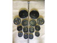 55kg CAST IRON WEIGHT PLATES WITH A FREE 5ft HEAVY BARBELL
