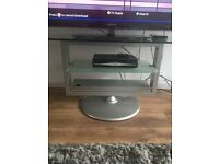 TV stand unit clear with silver stand fits up to 50""
