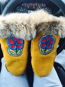 Price reduced! Hand made Moose hide beaded mitts & slippers