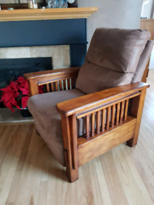 Genuine Suede mission style recliner