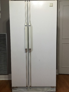 Whirlpool side-by-side white refrigerator
