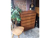 CHEST OF DRAWERS FREE DELIVERY TEAK WOOD MID CENTURY