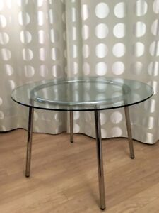 Round Glass/Metal Dining Table