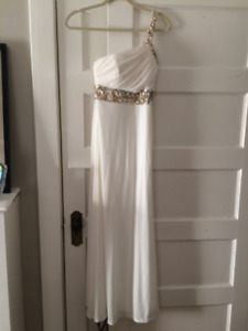 White One Shoulder Prom Dress
