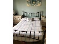 Double metal bed frame (& mattress if wanted)