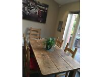Solid oak table with six chairs £75