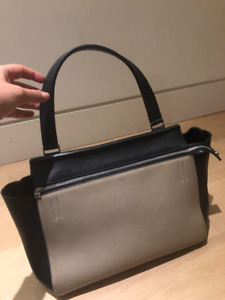 Original CELINE Medium Edge Black Beige Smooth Leather bag