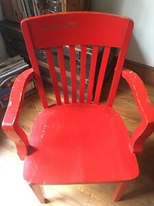 4 red chairs wood