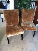 Furry brown golden crushed velvet accent chairs