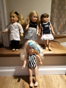 Maple dolls and American Girls clothing and accessory kits.
