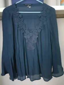 Navy blouse with bell sleeve size small